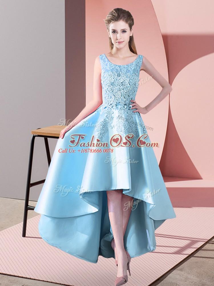 Beautiful Aqua Blue A-line Lace Bridesmaid Dresses Zipper Satin Sleeveless High Low