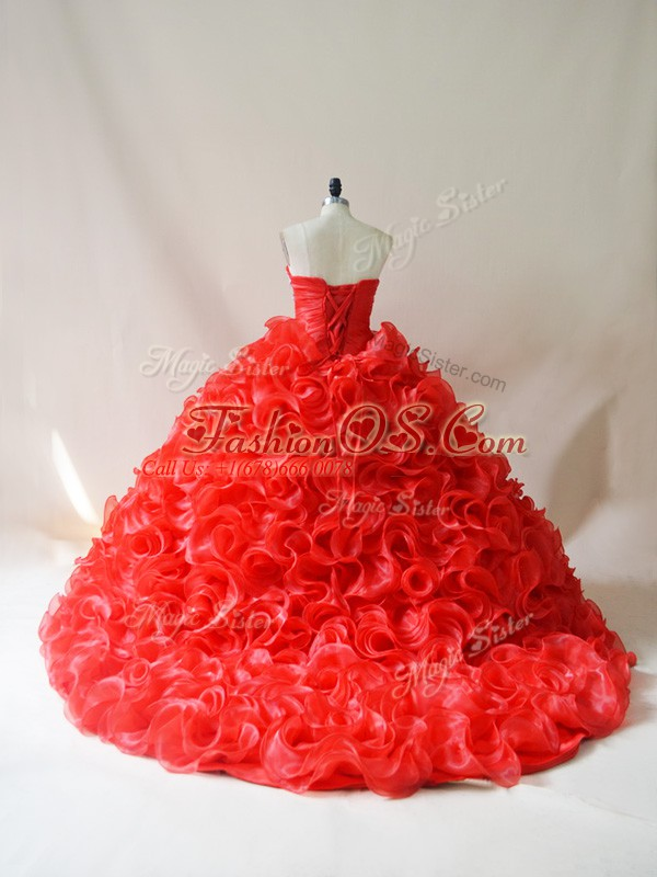 Glittering Sleeveless Fabric With Rolling Flowers Court Train Lace Up 15 Quinceanera Dress in Red with Beading and Ruffles