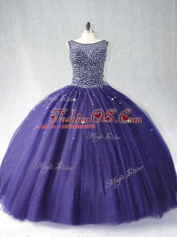 Fine Beading Sweet 16 Quinceanera Dress Purple Zipper Sleeveless Floor Length