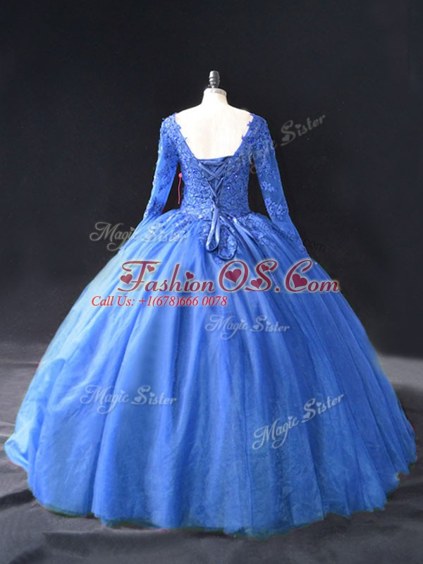 Blue Long Sleeves Lace and Appliques Floor Length Quince Ball Gowns