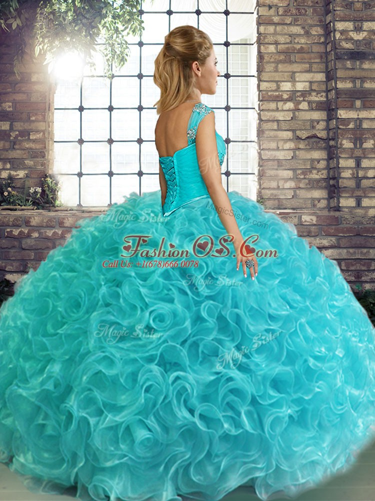Decent Turquoise Lace Up Off The Shoulder Beading Quinceanera Dress Fabric With Rolling Flowers Sleeveless