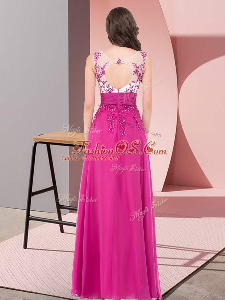Scoop Sleeveless Damas Dress Floor Length Appliques Orange Red Chiffon