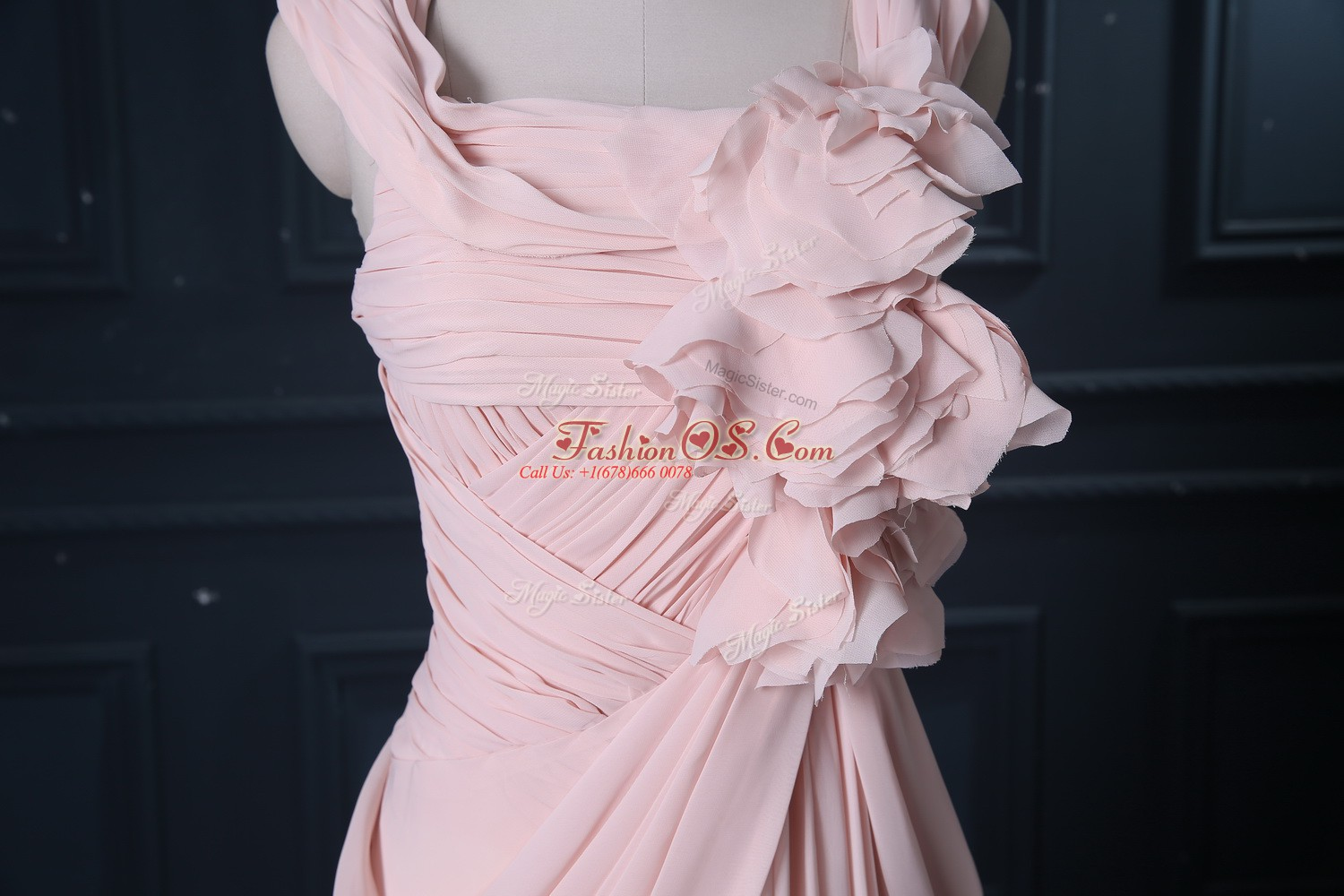 Clearance Sleeveless Ruching Zipper Prom Evening Gown with Pink Brush Train