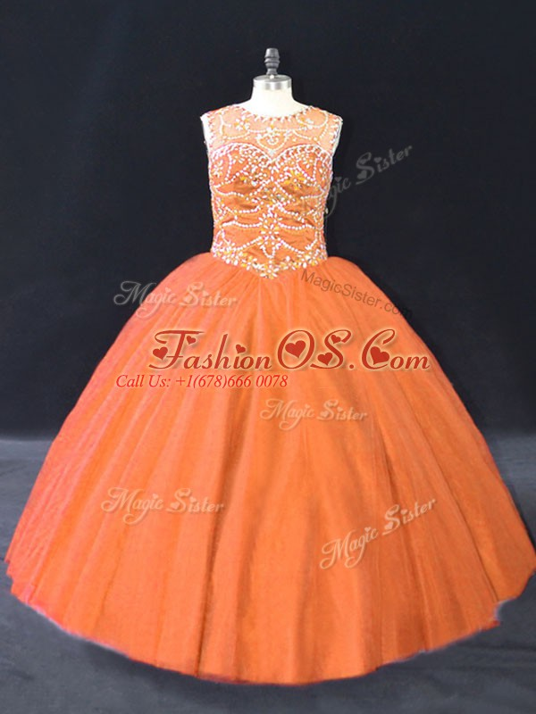 Floor Length Orange Quince Ball Gowns Tulle Sleeveless Beading
