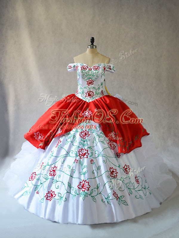 Fashion White And Red Lace Up Off The Shoulder Embroidery and Ruffled Layers 15 Quinceanera Dress Organza Sleeveless
