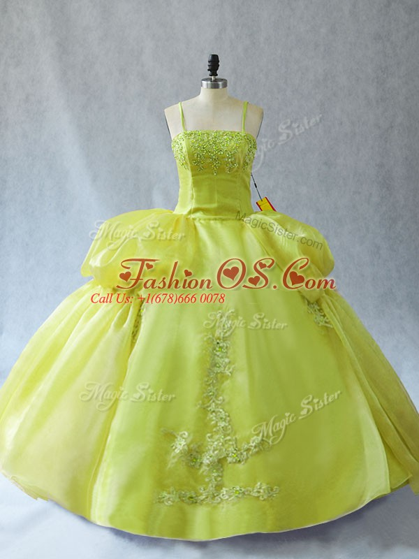 Yellow Green Lace Up Sweet 16 Dresses Appliques Sleeveless Floor Length