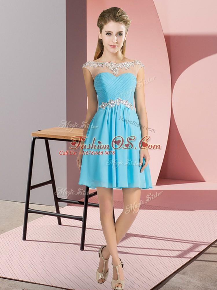 Chiffon Bateau Cap Sleeves Lace Up Beading Quinceanera Dama Dress in Aqua Blue