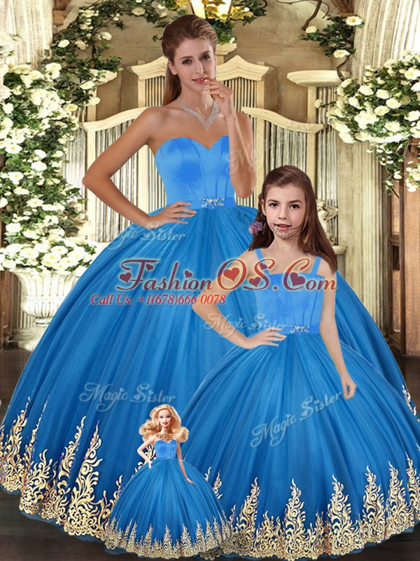 Blue 15th Birthday Dress For with Embroidery Sweetheart Sleeveless Lace Up