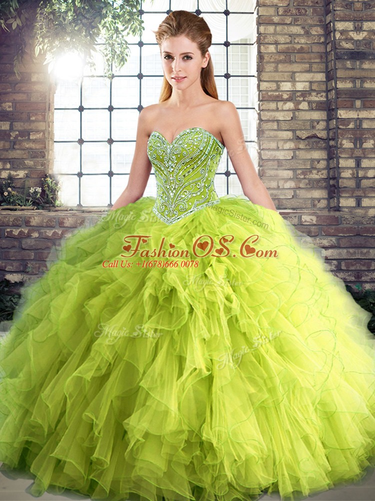 Latest Yellow Green Lace Up Quinceanera Gown Beading and Ruffles Sleeveless Floor Length
