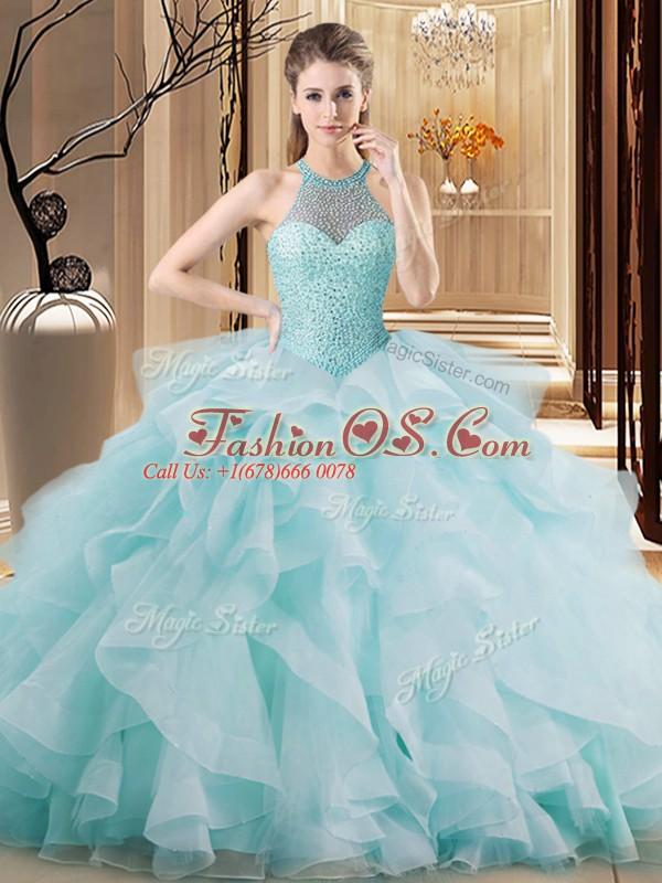 Ideal Halter Top Sleeveless Vestidos de Quinceanera Brush Train Embroidery and Ruffles Light Blue Organza