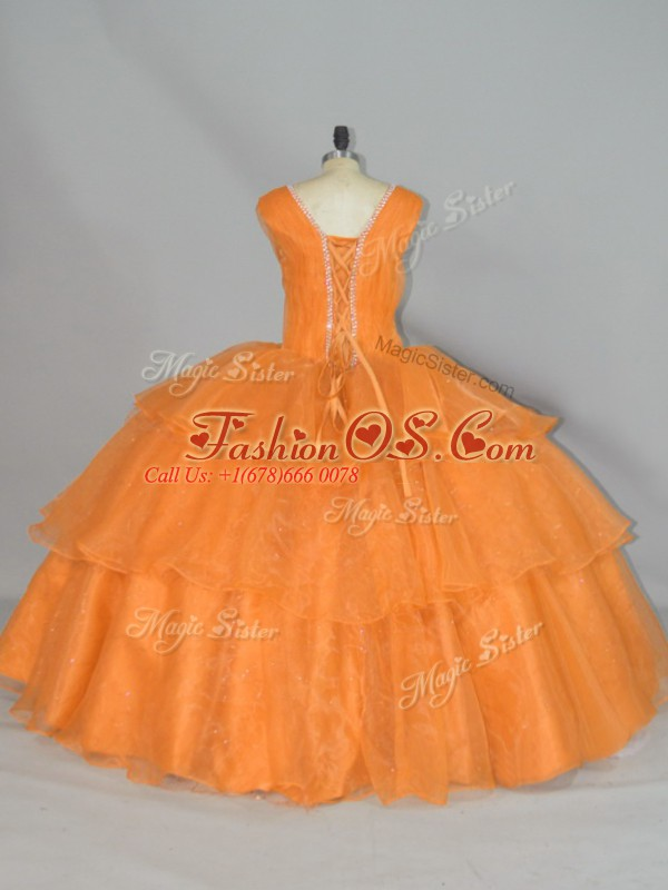 Affordable Orange Straps Lace Up Beading and Ruffled Layers and Ruching Quince Ball Gowns Sleeveless