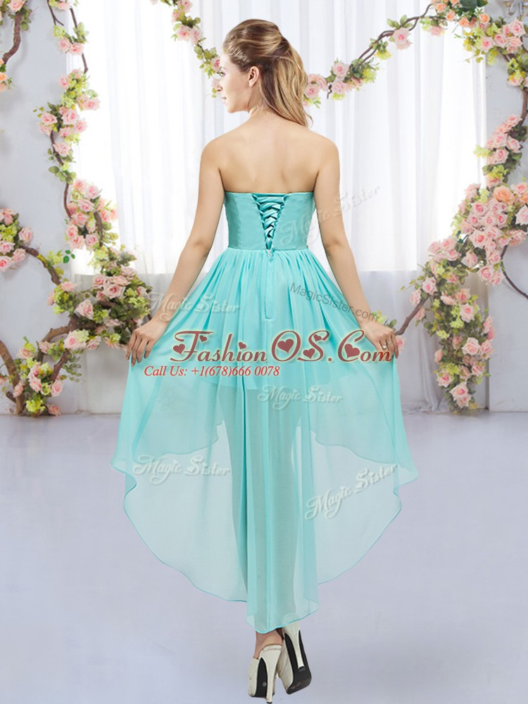 Simple High Low Lace Up Court Dresses for Sweet 16 Yellow Green for Wedding Party with Beading