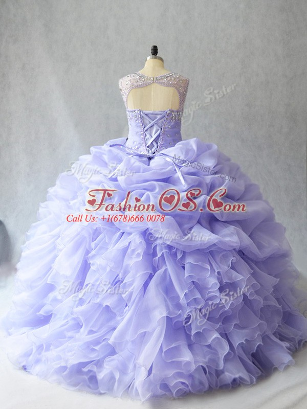 Fitting Sleeveless Brush Train Lace Up Beading and Ruffles and Pick Ups 15 Quinceanera Dress