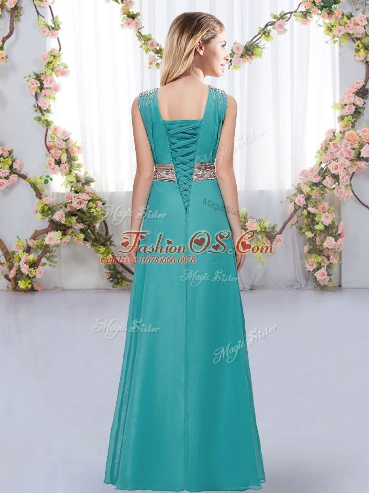Custom Fit V-neck Sleeveless Chiffon Quinceanera Dama Dress Beading and Belt Lace Up