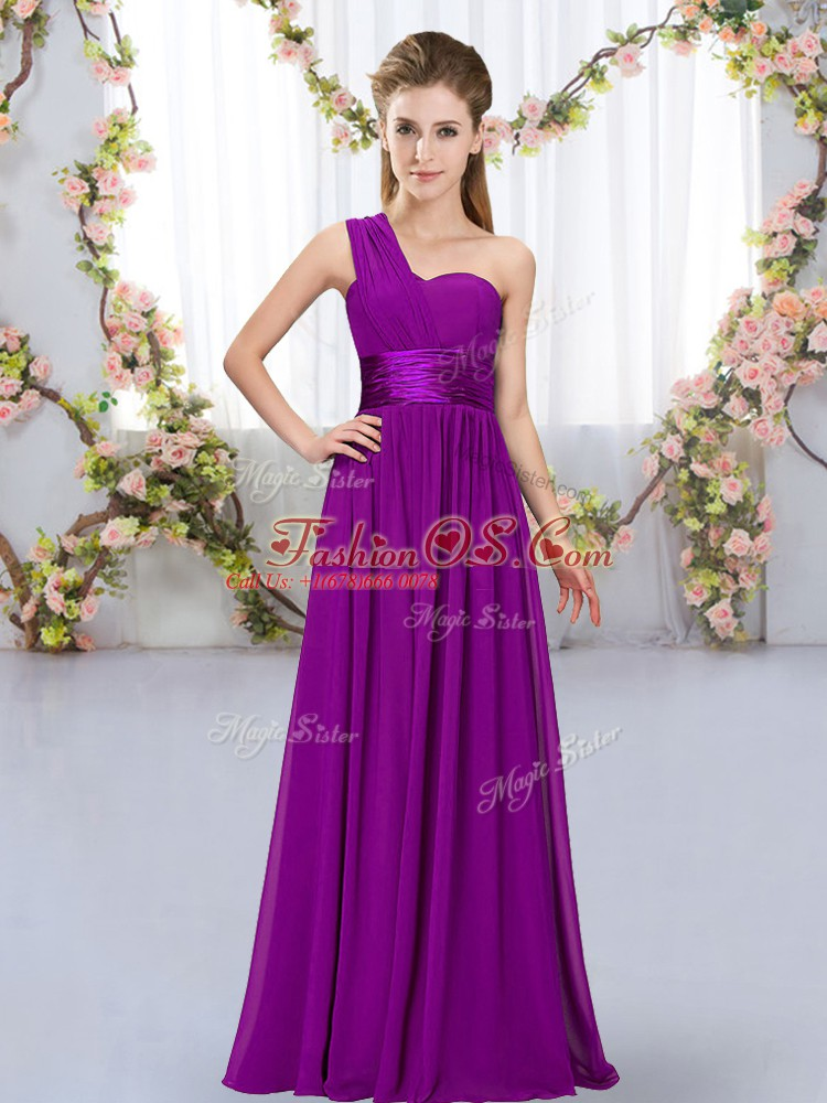 One Shoulder Sleeveless Lace Up Dama Dress Purple