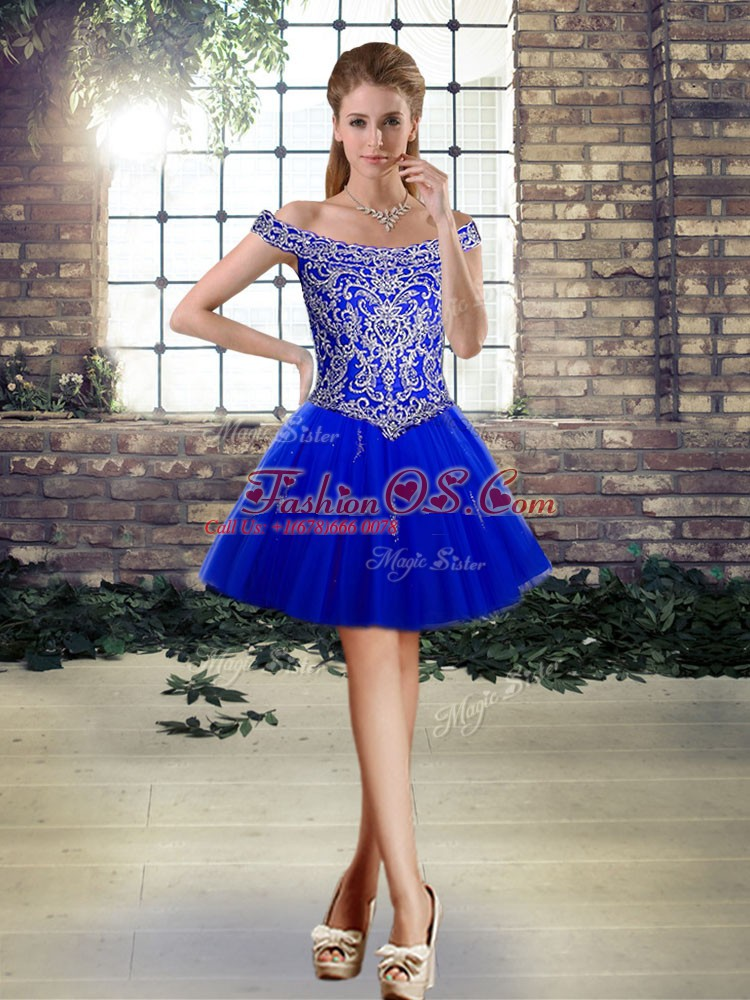 Royal Blue Sleeveless Mini Length Beading and Appliques Lace Up