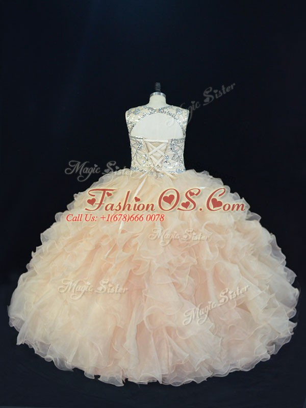 Affordable Scoop Sleeveless Organza Sweet 16 Dress Beading and Ruffles Lace Up