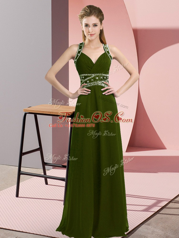 Empire Prom Party Dress Olive Green Straps Chiffon Sleeveless Floor Length Backless