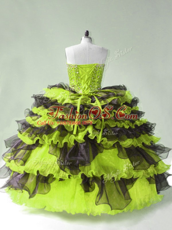 Yellow Green Organza Lace Up Quinceanera Gown Sleeveless Beading