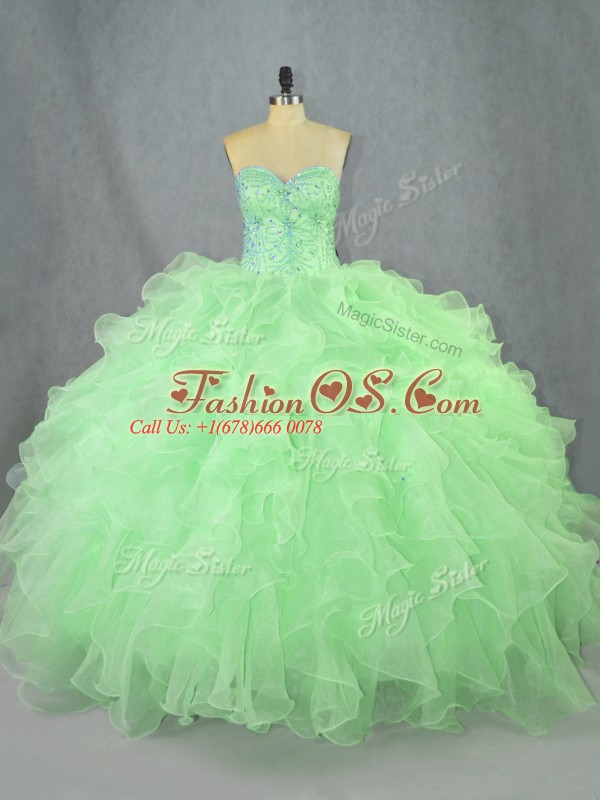 Green Sweetheart Lace Up Beading and Ruffles Quinceanera Gown Sleeveless