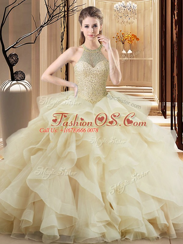 Eye-catching Champagne Sleeveless Brush Train Beading and Ruffles Sweet 16 Quinceanera Dress