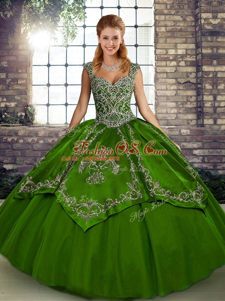 Olive Green Sleeveless Tulle Lace Up Quinceanera Gowns for Military Ball and Sweet 16 and Quinceanera