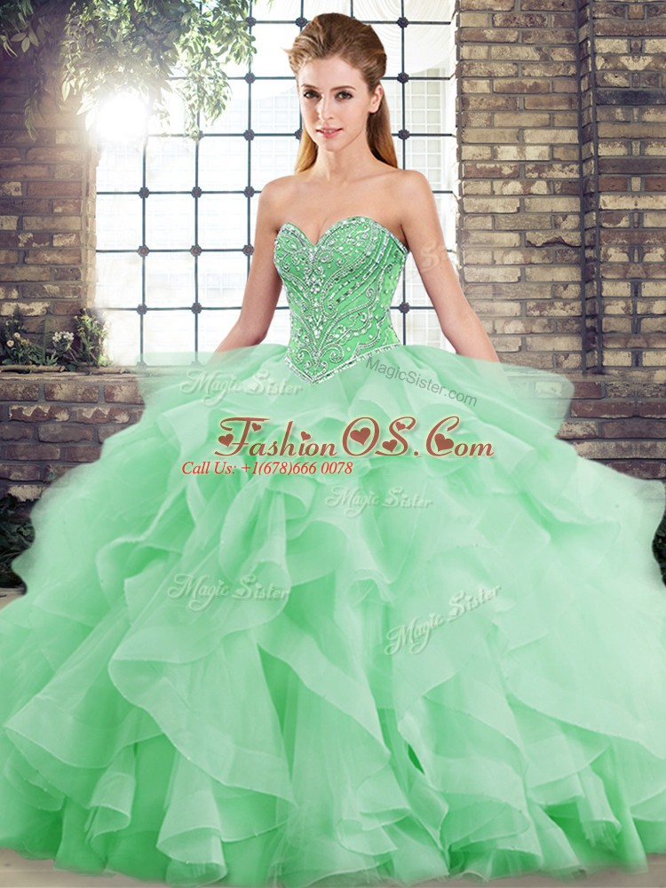Ball Gowns Sleeveless Green Sweet 16 Quinceanera Dress Brush Train Lace Up