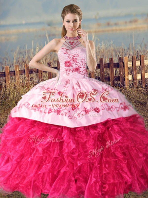 Smart Hot Pink Organza Lace Up Halter Top Sleeveless 15th Birthday Dress Court Train Embroidery and Ruffles