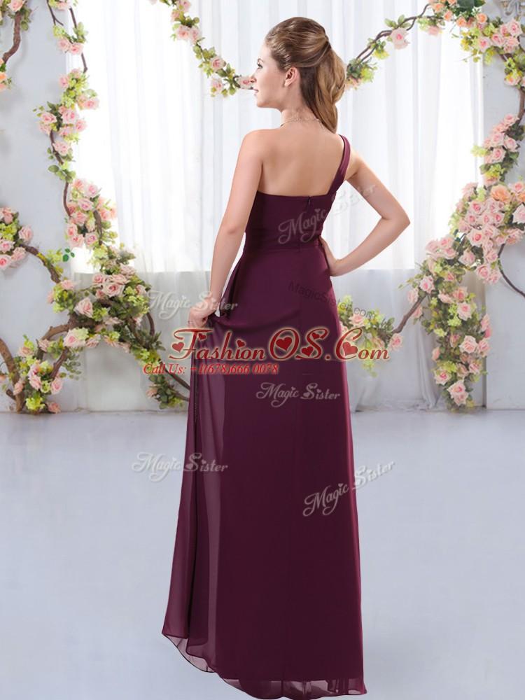 Glittering Sleeveless Floor Length Ruching Zipper Bridesmaid Dresses with Burgundy
