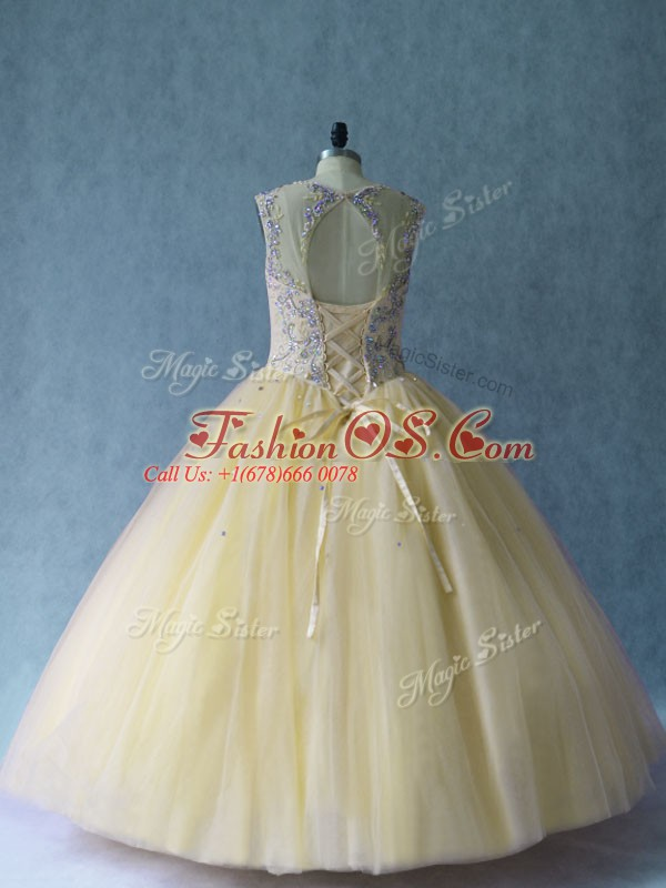 Light Yellow Ball Gowns Scoop Sleeveless Tulle Floor Length Lace Up Beading Ball Gown Prom Dress
