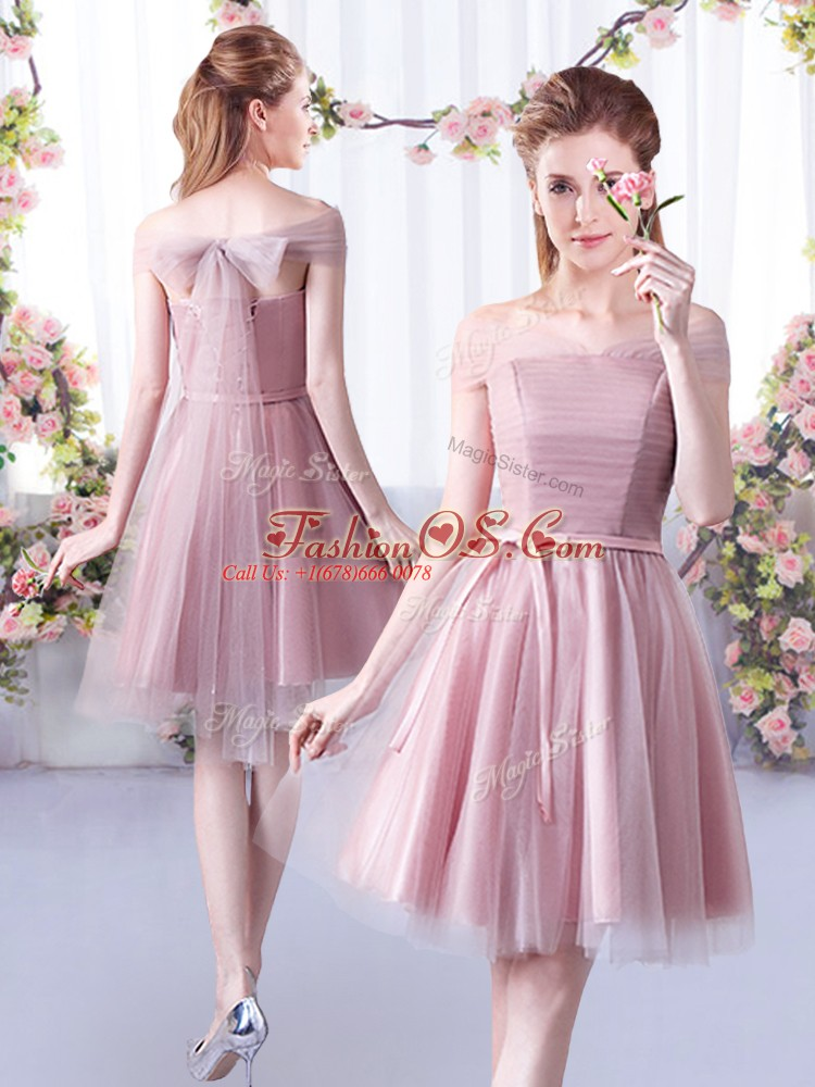 Sleeveless Tulle Knee Length Lace Up Dama Dress in Pink with Belt