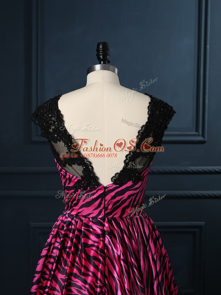 Designer Hot Pink Backless Cocktail Dresses Lace Cap Sleeves Mini Length