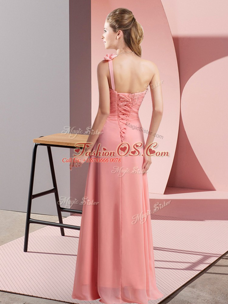 Enchanting Floor Length Lace Up Quinceanera Court Dresses Yellow Green for Wedding Party with Hand Made Flower