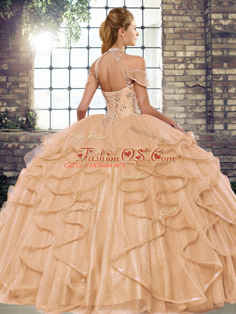 Discount Halter Top Sleeveless Sweet 16 Quinceanera Dress Floor Length Beading and Ruffles Fuchsia Tulle
