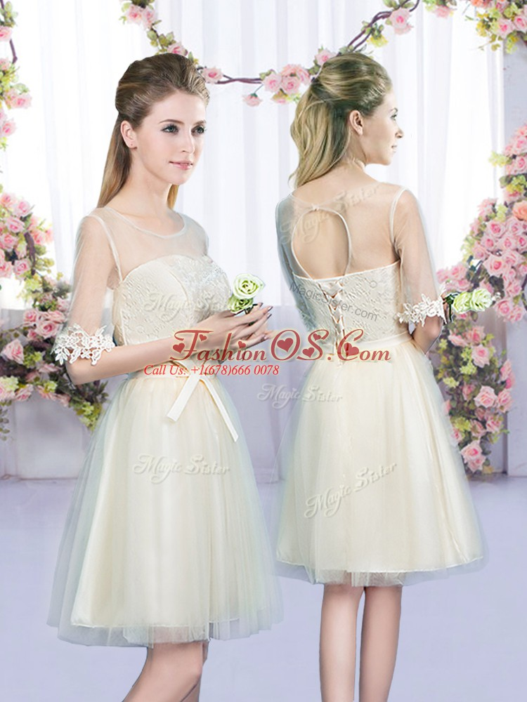 Custom Fit Sleeveless Mini Length Lace and Bowknot Lace Up Wedding Party Dress with Champagne
