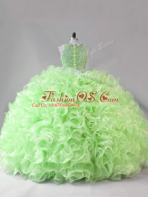 Sleeveless Fabric With Rolling Flowers Floor Length Zipper Vestidos de Quinceanera in with Beading