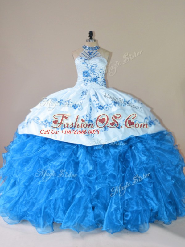 Blue Lace Up Halter Top Embroidery and Ruffles Vestidos de Quinceanera Organza Sleeveless Court Train