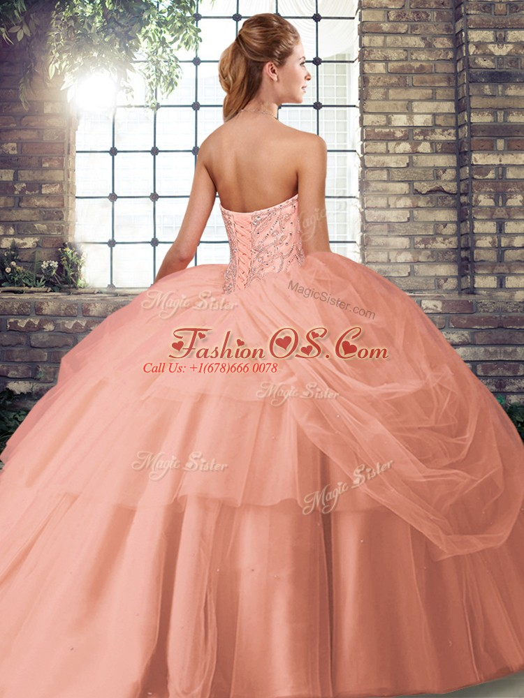 Great Orange Red Sweet 16 Quinceanera Dress Military Ball and Sweet 16 and Quinceanera with Beading and Pick Ups Sweetheart Sleeveless Brush Train Lace Up