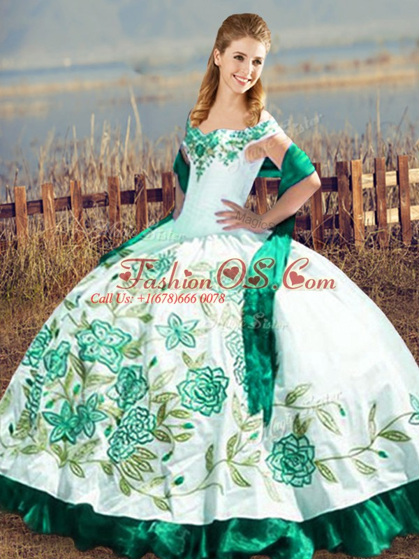 Green Satin and Organza Lace Up Off The Shoulder Sleeveless Floor Length Quince Ball Gowns Embroidery and Ruffles