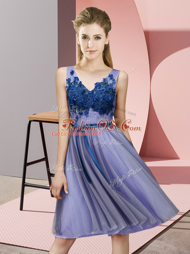 Knee Length Lavender Dama Dress for Quinceanera Tulle Sleeveless Appliques