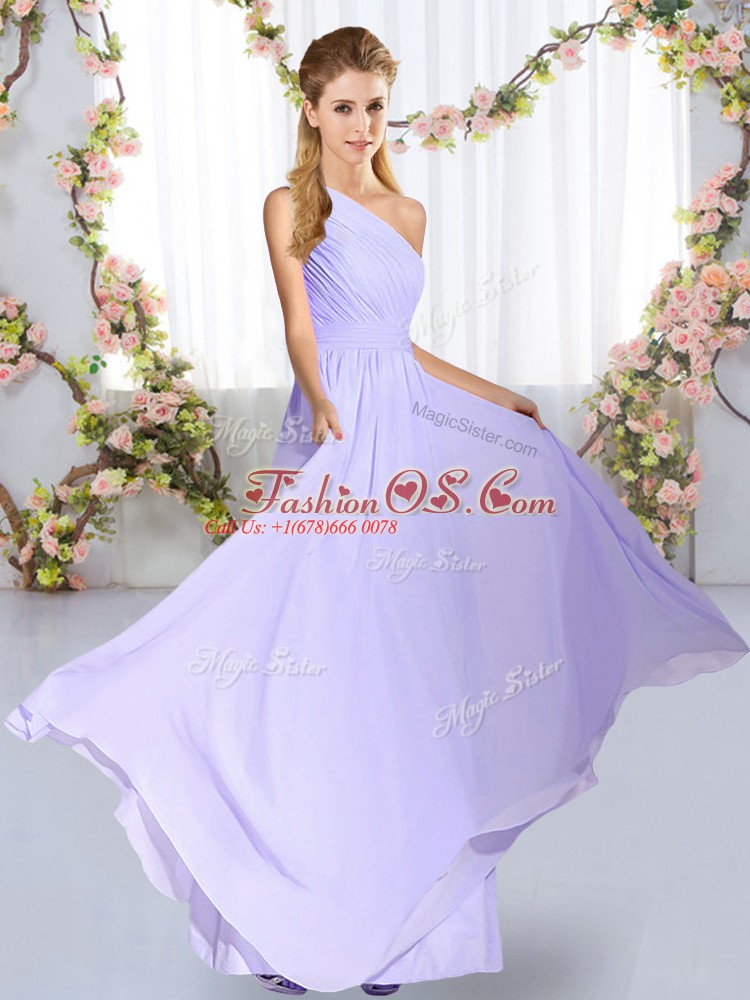 New Arrival Floor Length Lavender Bridesmaids Dress Chiffon Sleeveless Ruching