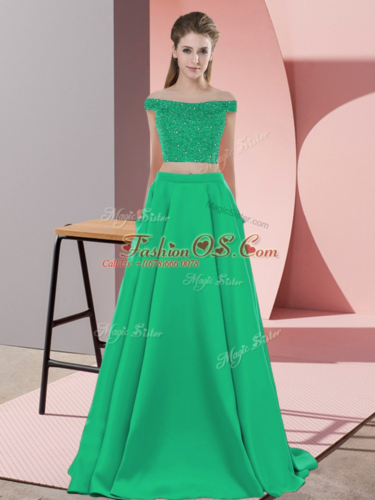 Fancy Turquoise Off The Shoulder Backless Beading Sweep Train Sleeveless