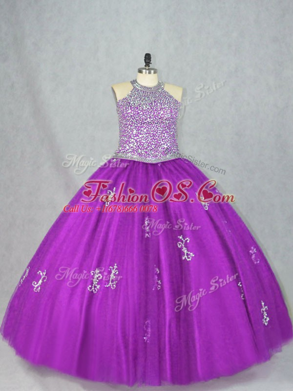 Purple Lace Up Quinceanera Gown Beading and Appliques Sleeveless Floor Length