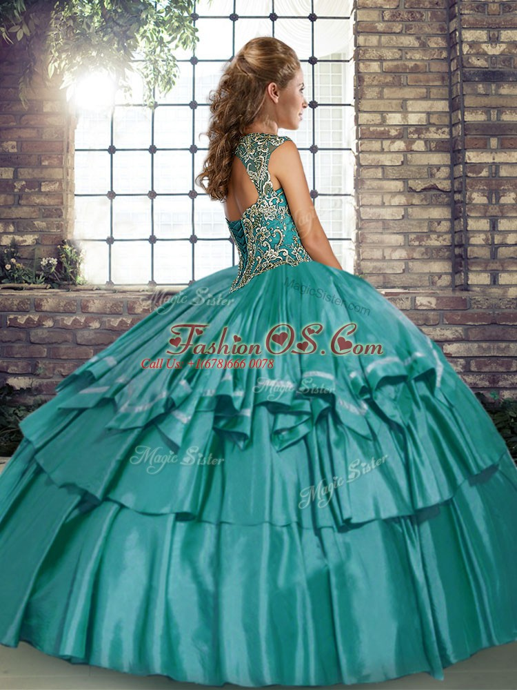Taffeta Straps Sleeveless Lace Up Beading and Ruffled Layers Quinceanera Dresses in Blue