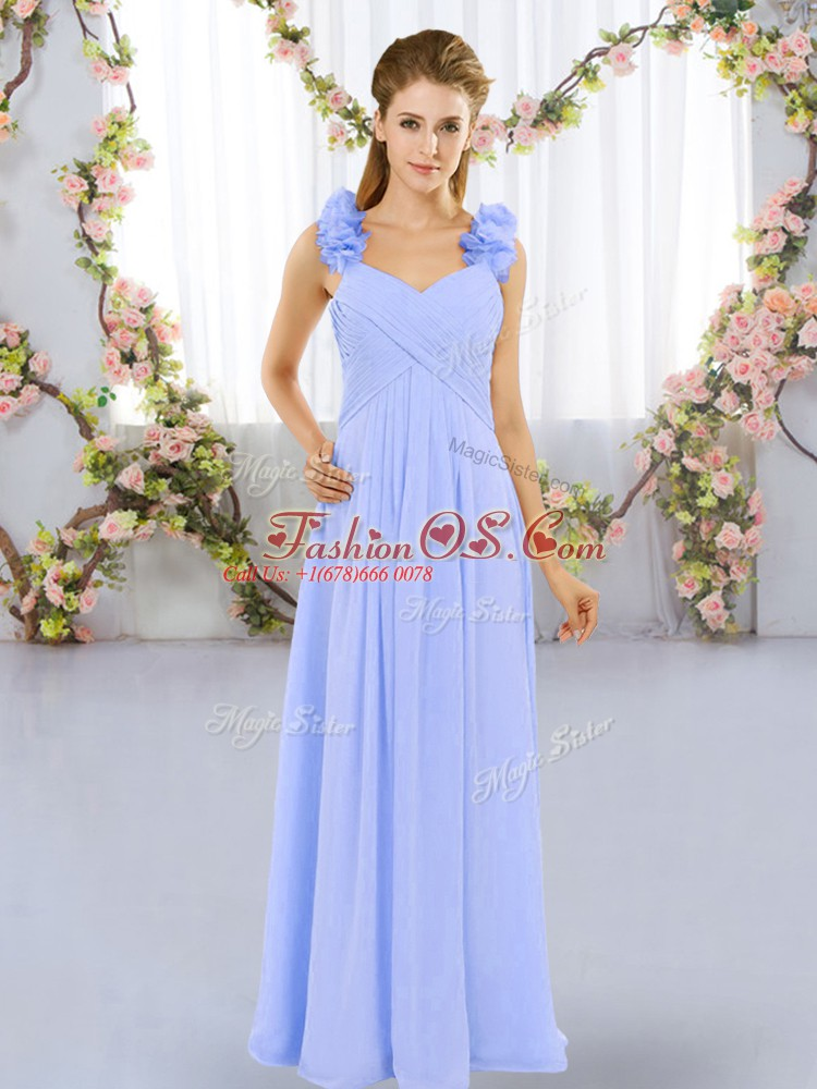 Floor Length Empire Sleeveless Lavender Quinceanera Court Dresses Lace Up