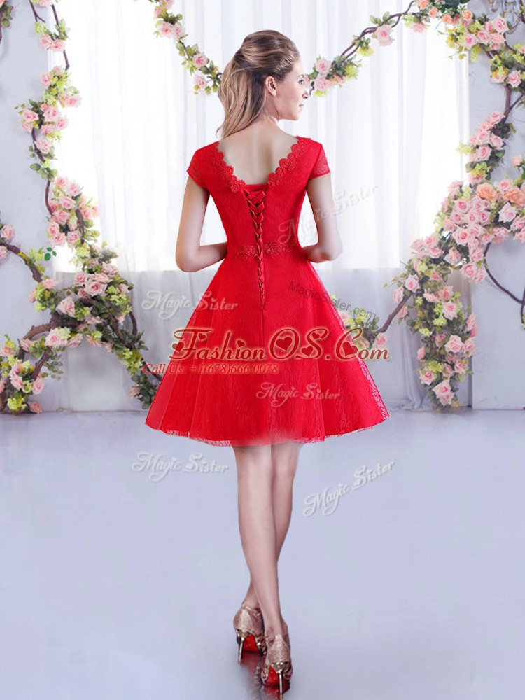 Custom Design Red V-neck Lace Up Lace Bridesmaid Gown Cap Sleeves