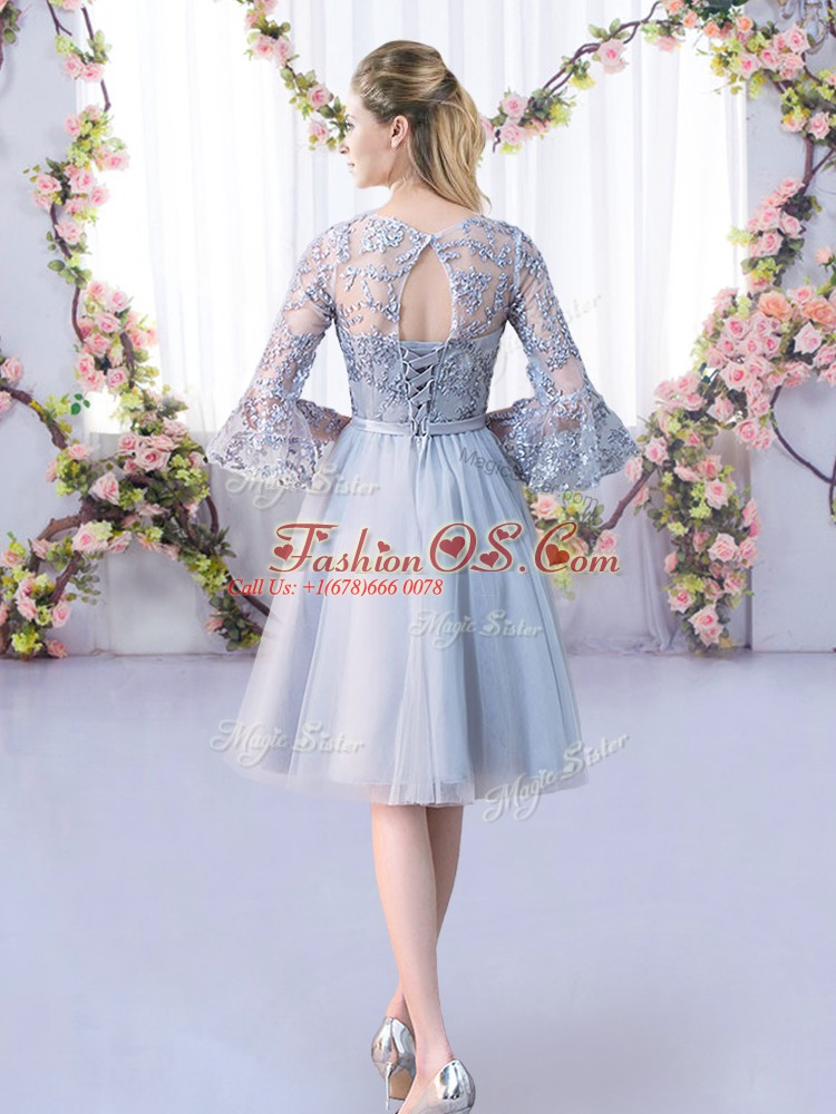 Sexy Scoop 3 4 Length Sleeve Dama Dress for Quinceanera Knee Length Lace and Belt Grey Tulle