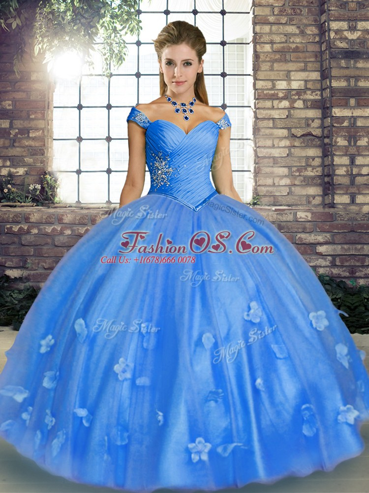 Charming Off The Shoulder Sleeveless Sweet 16 Dress Floor Length Beading and Appliques Baby Blue Tulle