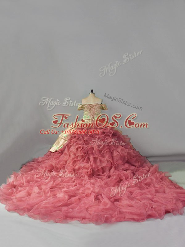 Modern Pink Ball Gowns Embroidery and Ruffles Quinceanera Dress Lace Up Organza Sleeveless Floor Length