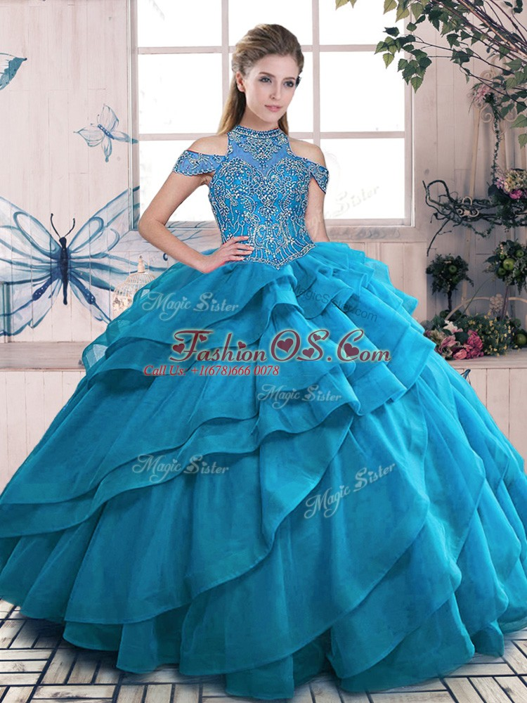 Pretty Blue High-neck Lace Up Beading and Ruffled Layers Sweet 16 Dresses Sleeveless